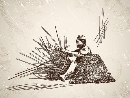 Man weeft een mandje van bamboe. Hand getrokken illustratie