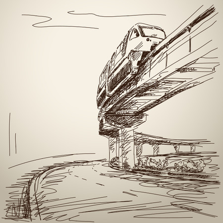 monorail: Sketch of monorail train. Hand drawn illustration