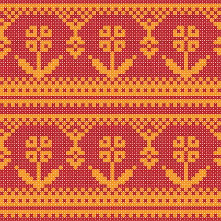 punto cruz: Punto de cruz adorno de flores de fondo sin fisuras Vectores