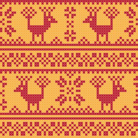 cross stitch: Cross stitch flower and deer ornament seamless background