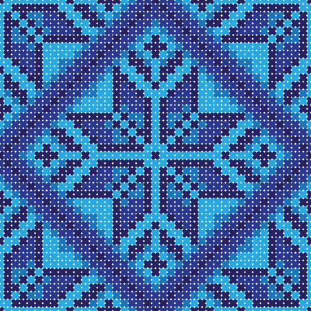 punto cruz: Punto de cruz azul adorno de flores de fondo sin fisuras