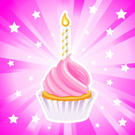 first birthday: Happy birthday cupcake Vector