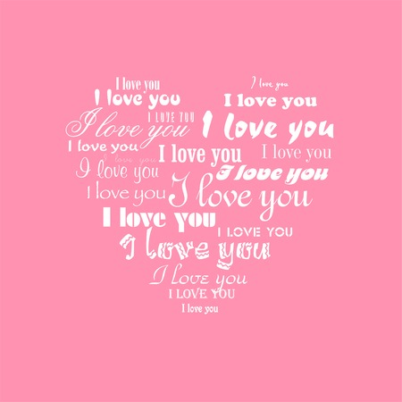 repeated: Seamlessly vector wallpaper valentine with heart and superscription I love you