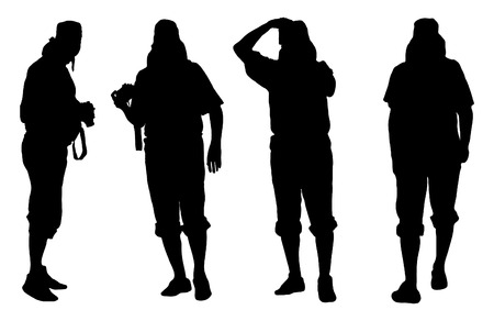 telephoto: vector silhouettes of photographer man