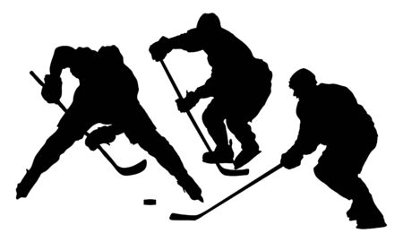 hockey silhouette black. vector illustration