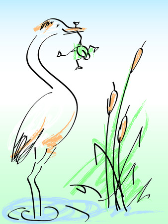 bulrush: heron and frog. vector cartoon Illustration