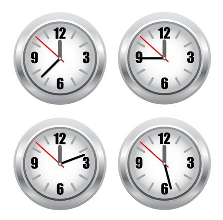 clockface: set of standard clockface. vector illustracion Illustration