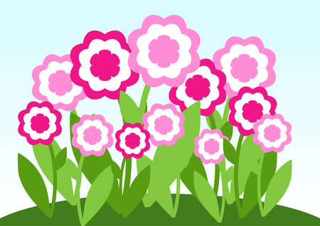 marriage bed: Pink flower on meadow. Vector illustration