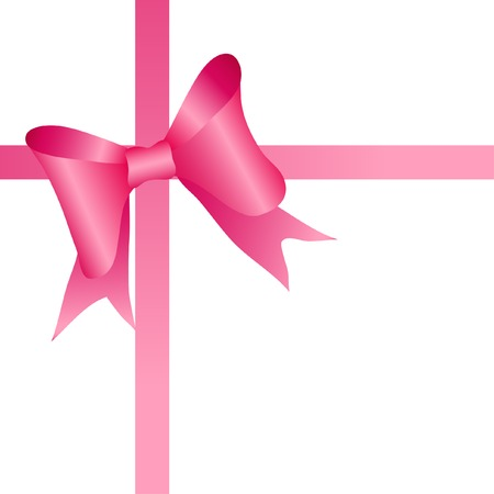 pink bow: Pink bow on tape. Vector illustration