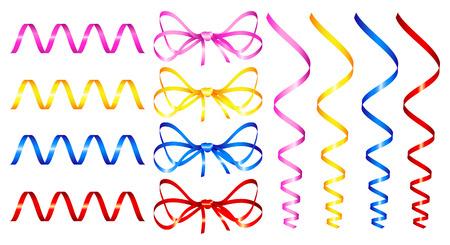 set of red holiday ribbon. Vector illustration