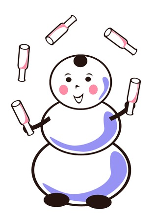fun snowman with five bottles Vector