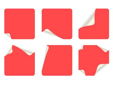 peeling corner: set of square stickers Illustration