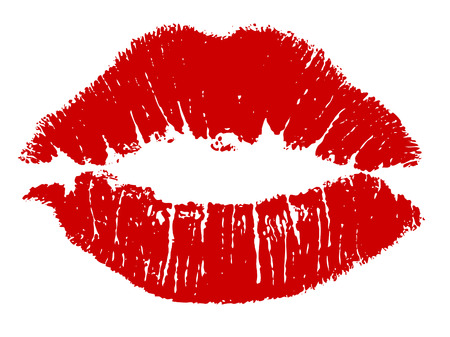 mouth couple: Red kiss lips Vector