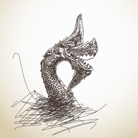 naga china: Hand drawn dragon statue