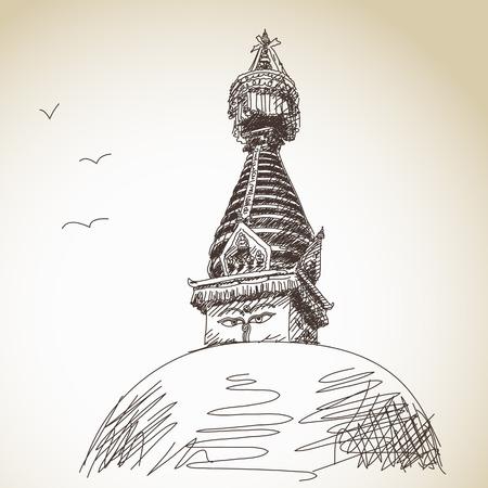 buddhist stupa: Hand drawn traditional buddhist stupa Nepal Illustration
