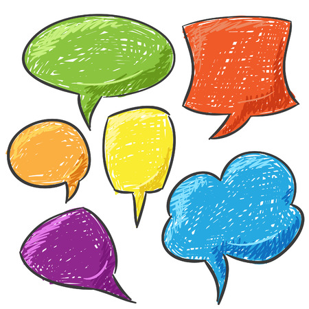 free thought: Hand Drawn Speech And Thought Bubbles Illustration