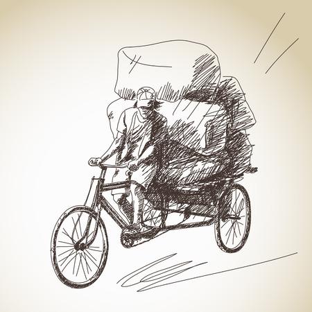 rikscha: Skizze der Fahrrad-Rikscha Lieferung