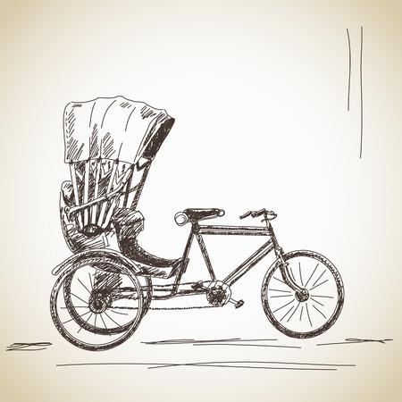 rikscha: Skizze der Fahrrad-Rikscha