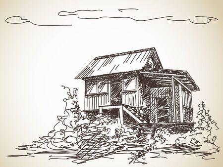 Main campagne dessinée maison en bois Banque d'images - 36999775