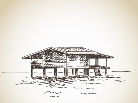 stilt: Hand drawn house on stilts on water