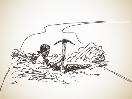 digging: Roadworks Man digging a hole in the road Hand drawn
