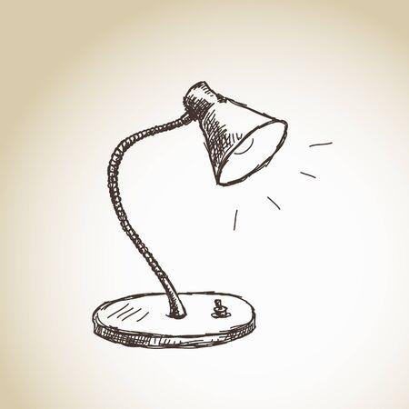 Hand drawn table lamp Vector Vector