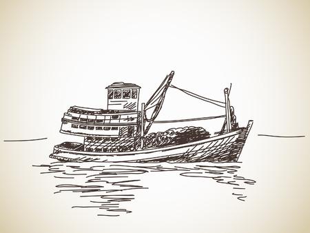 Hand drawn fishing boat Vector