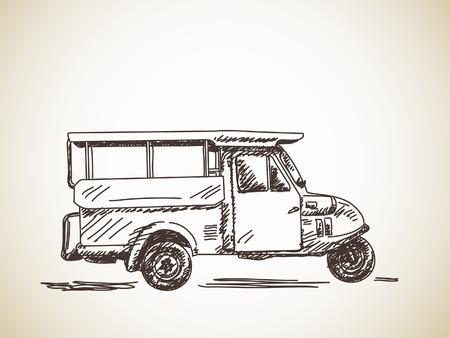 mototaxi: Hand drawn motorcycle rickshaw