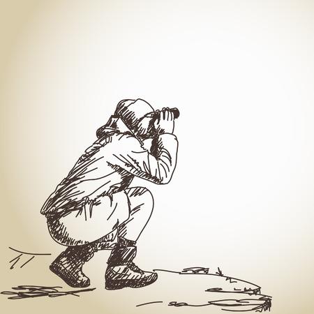 Sketch of man with binoculars Vector