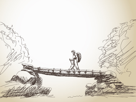 Sketch of bridge crossing river with trekking woman Vector 版權商用圖片 - 36999823