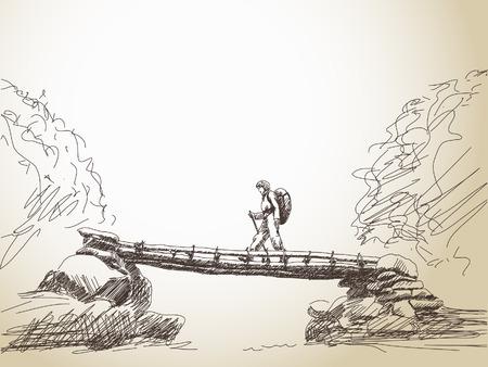 Sketch of bridge crossing river with trekking woman Vector