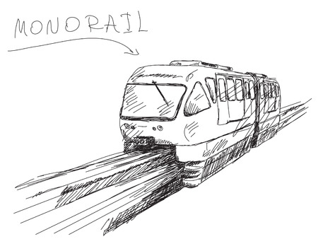 monorail: Sketch of monorail train Vector