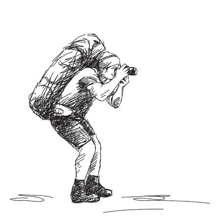 Schets van de fotograaf backpacker Vector