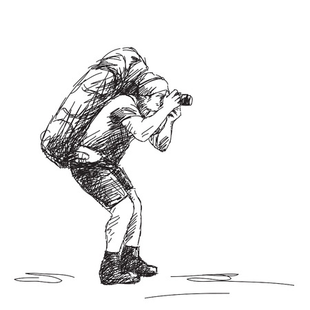 Sketch of photographer backpacker Vector