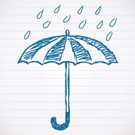 Sketch of umbrella with raindrops Vector