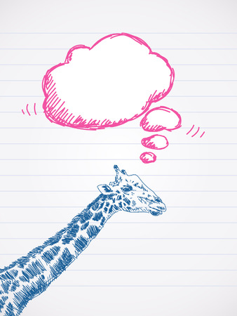 thought cloud: Giraffe with thought cloud Sketch Vector