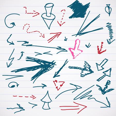 scrawl: Schizzo di scarabocchio set Arrows Vector Vettoriali