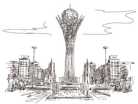 tv tower: Bayterek Tower in Astana. Symbol of Kazakhstan Vector sketch Illustration