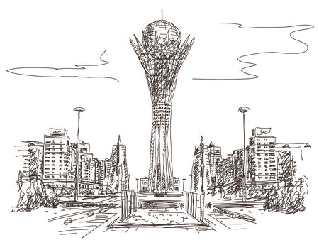 Bayterek Tower in Astana. Symbol of Kazakhstan Vector sketch Illustration
