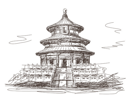 ming: Temple of Heaven in Beijing Vector sketch Illustration
