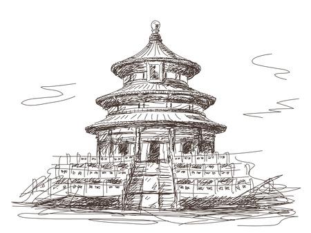 Temple of Heaven in Beijing Vector sketch 向量圖像