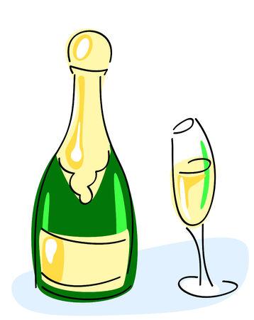 popping cork: Champagne bottle, glass. vector illustration