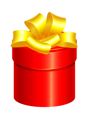 gold bow: red gift box with gold bow