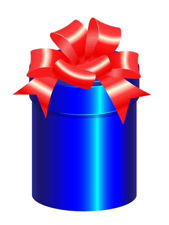 blue gift box: blue gift box with red bow