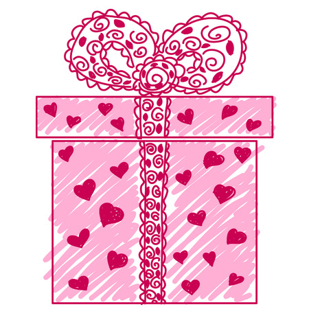 Hand-drawn gift box doodle. Vector image. Vector