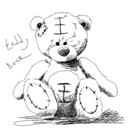 teddy bear love: Teddy bear doodle Vector