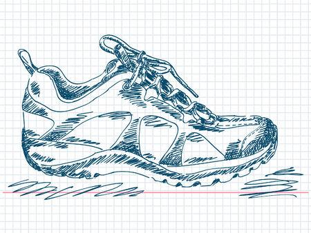 trek: Hand drawn hiking boot Vector
