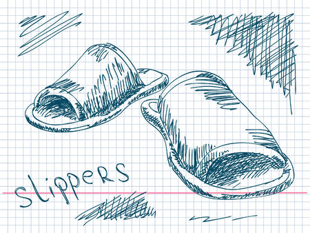 cosy: Hand drawn slippers Vector Illustration