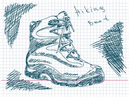 hiking boot: Hand drawn hiking boot Vector