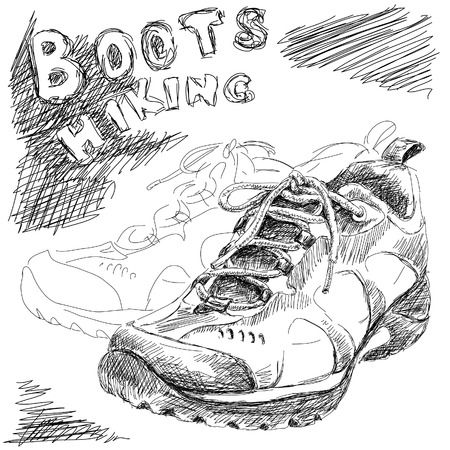 hiking boots: hand drawn doodle hiking boots vector